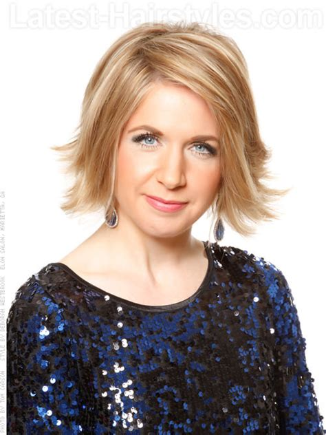 medium hairstyles flipped up flipped out bob blonde short haircut front view but