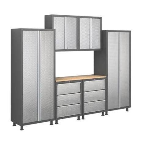 Home Depot Workshop Cabinets newage products bold plate series 9 ft 4 in welded 23 steel workshop garage