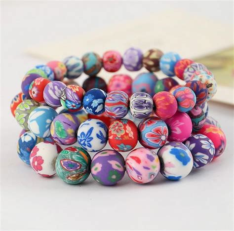 fimo bead patterns 2018 sales color fimo clay bead bracelet