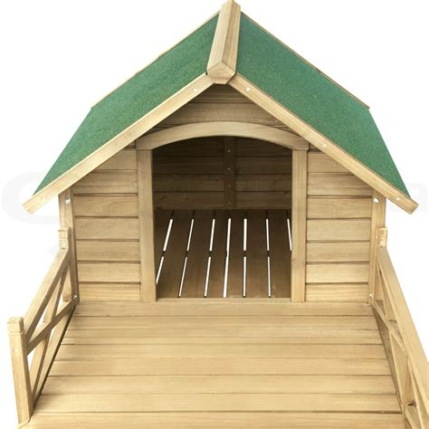 extra large dog house with porch extra large pet dog kennel house with patio wooden timber bed porch deck xl ebay
