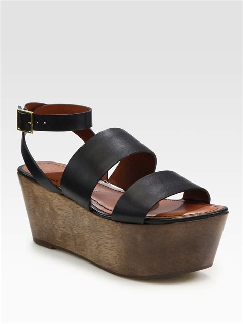 black leather platform sandals elizabeth and leather wood platform sandals in black