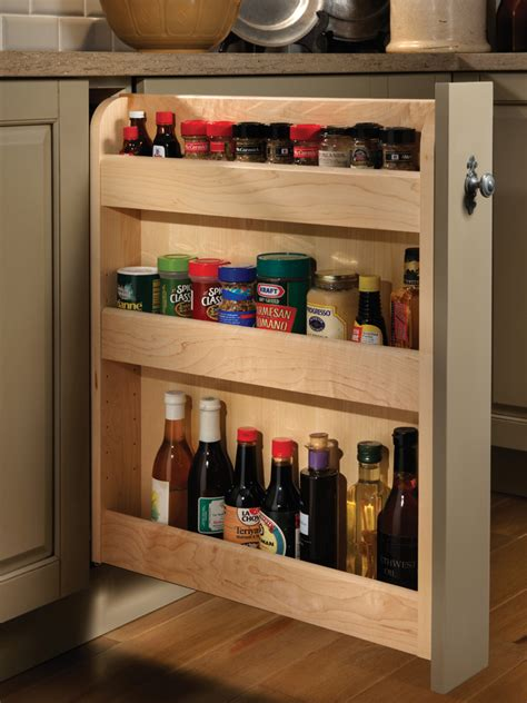 Spice Storage Cabinet Pull Out Spice Cabinet Wood Mode Custom Cabinetry
