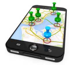 3d graphic of mobile with map and clipart pins stock photo