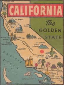 California Vintage California Map Illustration Cartes America