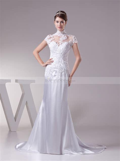 what is a neckline cut maltilda lace high neck princess cut wedding dress with