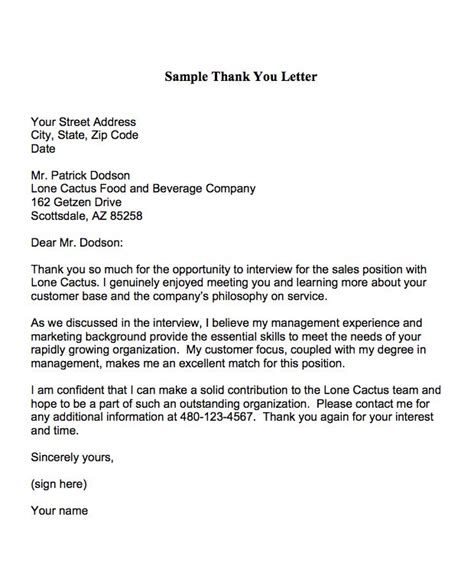 30 best thank you letter after job interview template thank you for