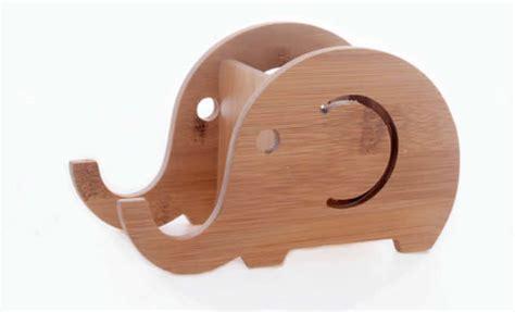 bamboo elephant stationery organizer phone stand holder feelgift
