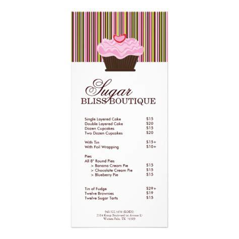 bakery templates free rack card bakery price list custom rack card zazzle