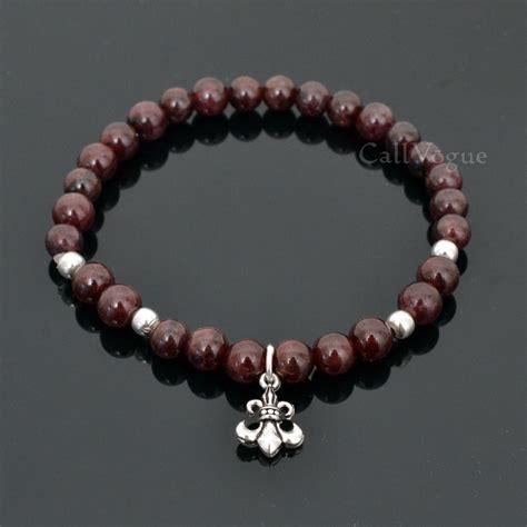 birthstones garnet fleur de lis silver bracelets callvogue