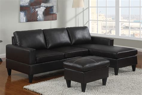 small black sectional small black faux leather sectional sofa with ottoman