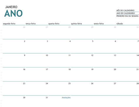 Calendario Mensal Calend 225 Mensal De Qualquer Ano Anota 231 245 Es Office