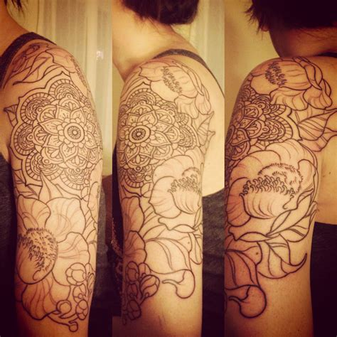sal tattoo mandala with bodhi leaves and sal cannonball tree
