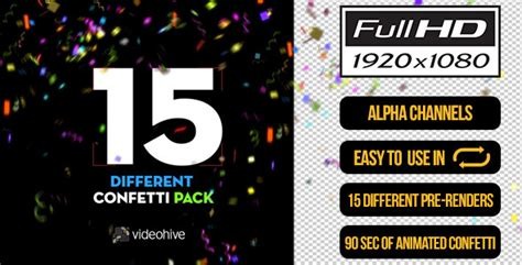 15 Confetti Pack By Boxmotion Videohive After Effects Confetti Template