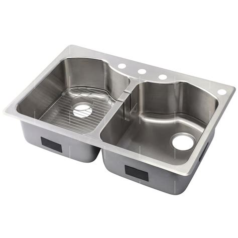 Drop In Stainless Steel Kitchen Sink Kohler Octave Drop In Undermount Stainless Steel 33 In 4 Equal Basin Kitchen Sink