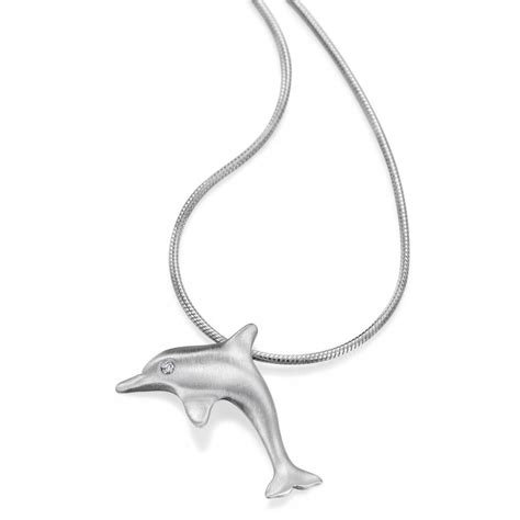 reef jewellery eye solid 18ct white gold dolphin