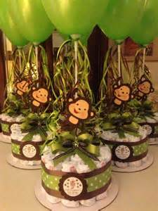 monkey baby shower diapers centerpiece with balloon green