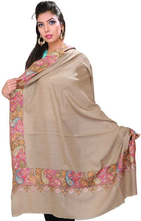Pashmina Bordir Pashmina 1 warm taupe pashmina shawl from kashmir with embroidered paisleys on border