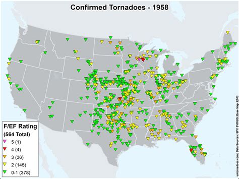 map of tornadoes today us tornadoes map1958 u s tornadoes