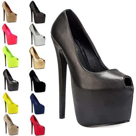 high heels stiletto 7 inch peep toe womens platform 7 inch high stiletto heel