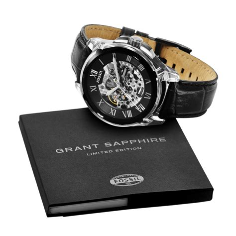 Fossil Kulit Black Limited limited edition grant automatic leather black