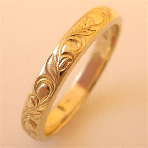 Hand Engraved Vine and Leaf 3mm 14k Yellow Gold Wedding