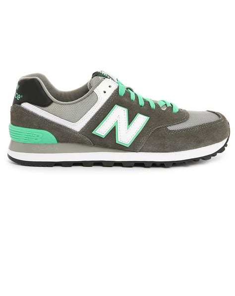 gray new balance sneakers new balance 574 grey green suede and mesh sneakers in gray