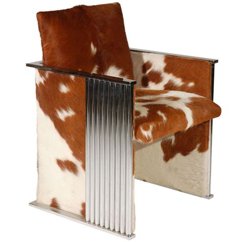 Cowhide Club Chair a 1980s cowhide and fluted chrome club chair at 1stdibs