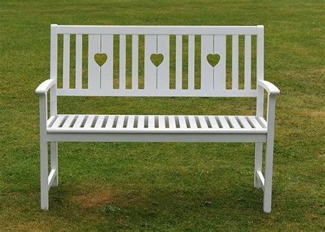 heart bench buy white heart bench from our garden benches range tesco