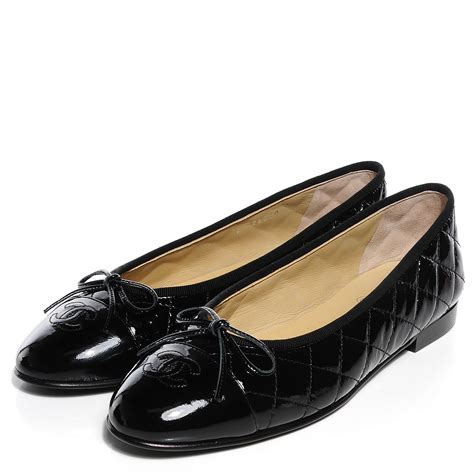 chanel patent quilted cap toe ballerina flats 39 black 97982