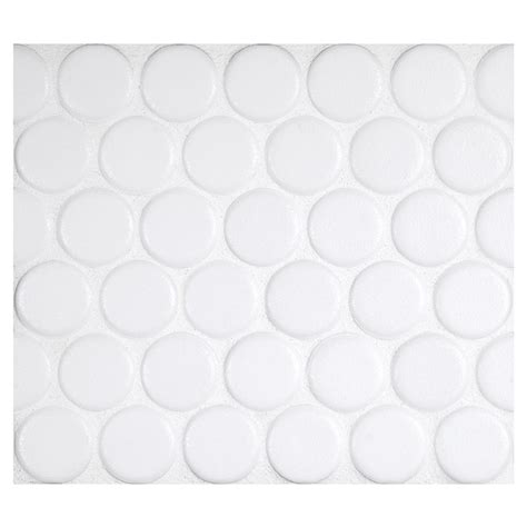 Penny round mosaic art white matte complete tile collection