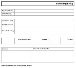 Rechnung Vom Kleinunternehmer Absetzen bewirtungsbeleg richtig ausf 252 llen mit vorlage