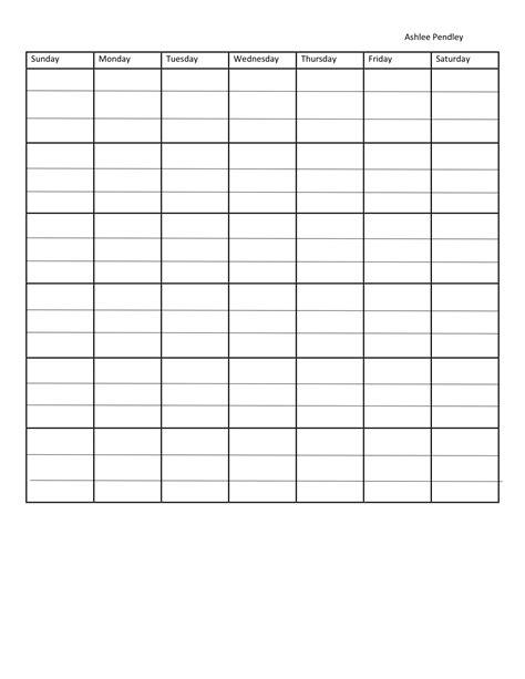 7 day calendar template blank seven day calendar calendar template 2018