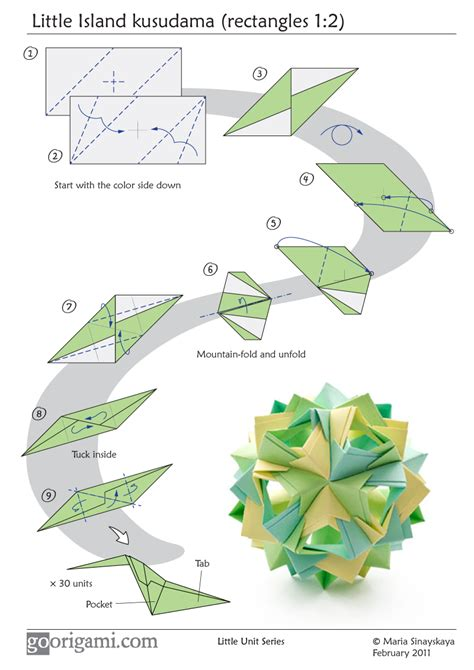 Origami Book Diagram - island kusudama by sinayskaya diagram go