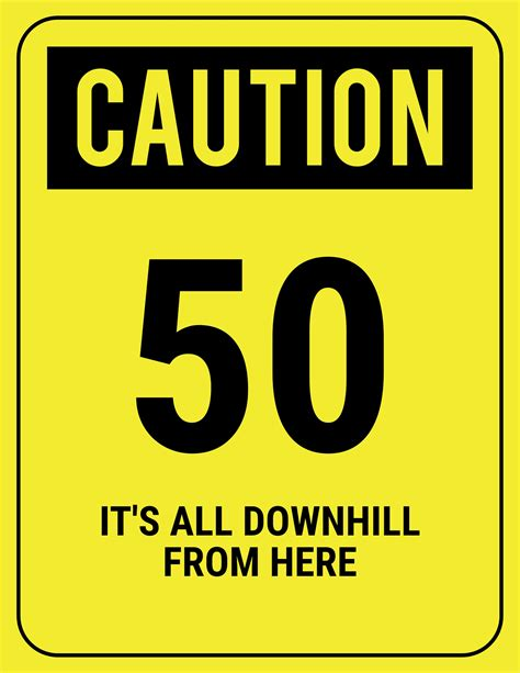 printable over the hill road signs over the hill birthday ideas