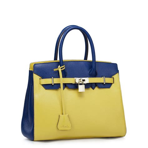 B2337 Yellow Blue Handbag colourful time series real leather platinum bag yellow with blue