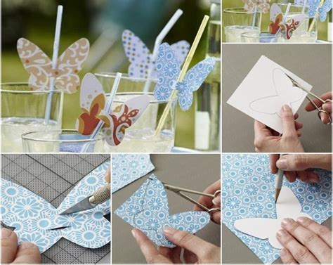 diy summer decorations for home table decoration ideas summer party butterflies paper diy drinking straw craft tutorials 10