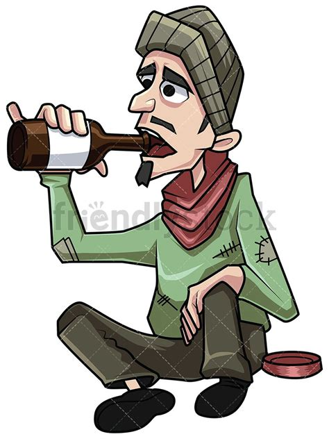 cartoon drinking alcohol homeless man drinking alcohol vector cartoon clipart