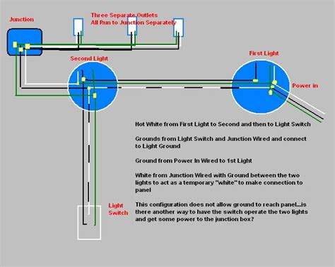 two lights on one switch power to light open ground