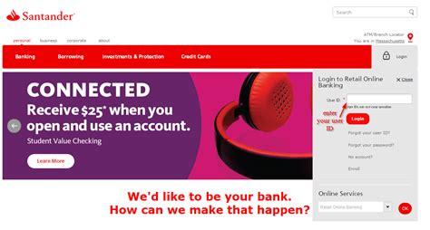 reset online banking santander santander bank online banking login login bank