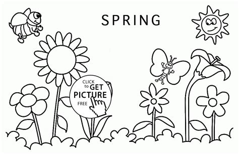 spring pictures to draw spring around coloring page for kids seasons coloring