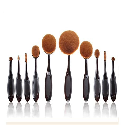 Oval Blending Brush Set Foundation New aliexpress buy contour brush shape oval 10pcs makeup