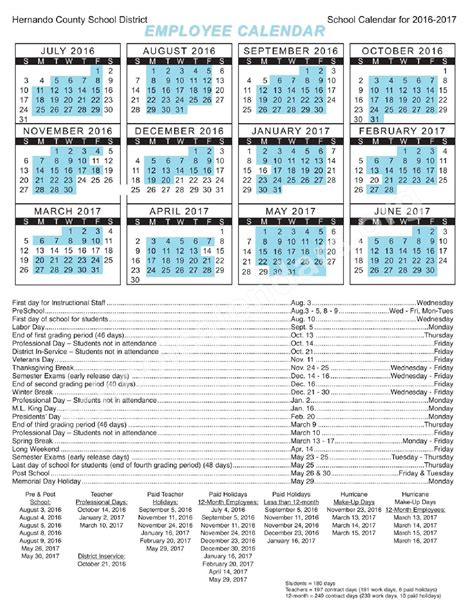 2016 2017 Employee Calendar Hernando County School