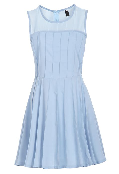 Casual Light Blue Dress by Light Blue Sleeveless Back Zipper Chiffon Pleated Dress Shein