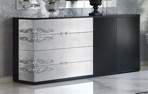 Black And Silver Sideboard luxus carved black and silver leaf sideboard