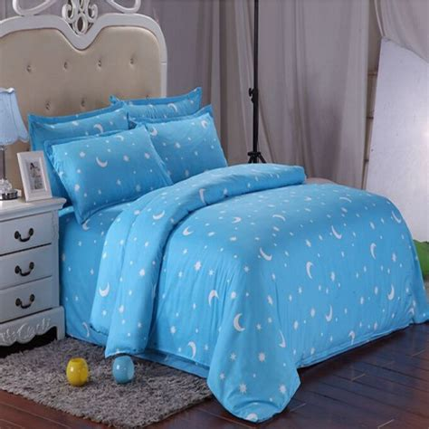 moon bed sheets cotton blue stars moon printing bedding set bed sheet duvet cover pillowcase ebay