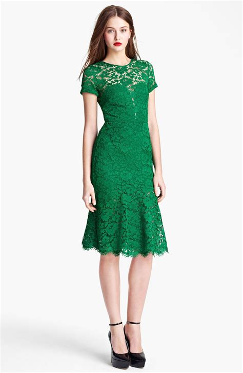 Green Flare Dress green lace fit and flare dress by burberry prorsum
