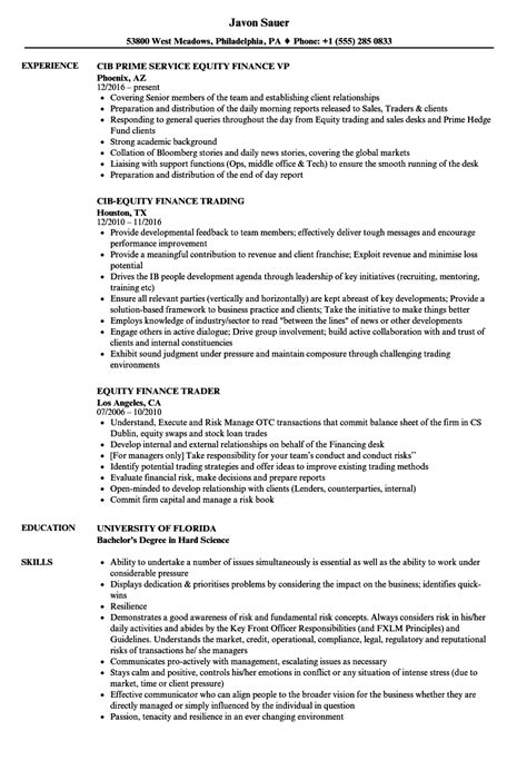 Equity Resume by Equity Finance Resume Sles Velvet