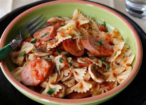 pasta sausage ziti with sausage mushroom and tomato sauce