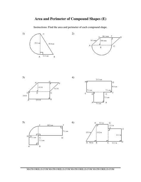 area and perimeter of composite figures worksheet maths worksheets composite shapes area and perimeter of compound shapes ee measurement