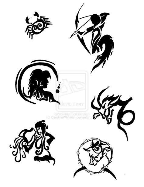 horoscope tattoo designs zodiac designs by carolinewhitman on deviantart